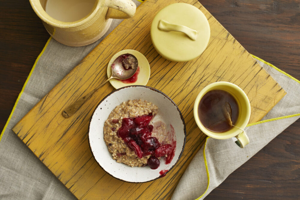 Berry Vanilla Rhubarb Compote on a breakfast table