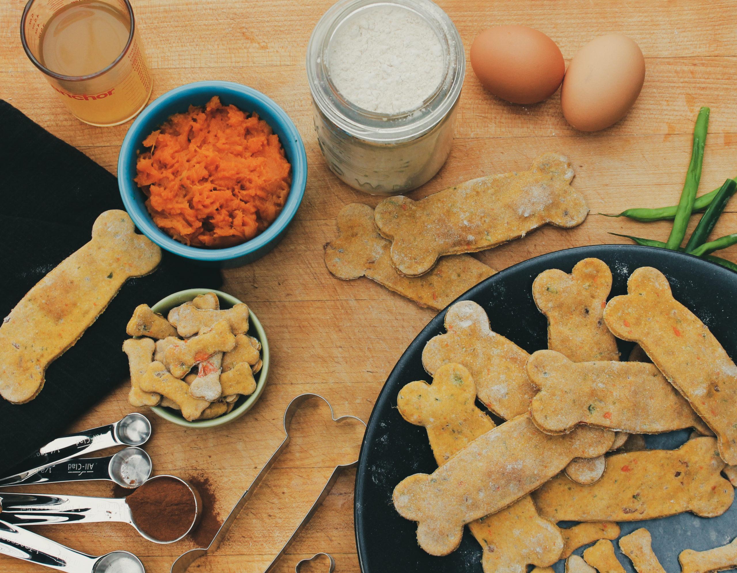 Homemade dog treats made out of sweet potato