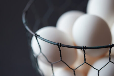 Basket of eggs being used for One-Minute Mayo