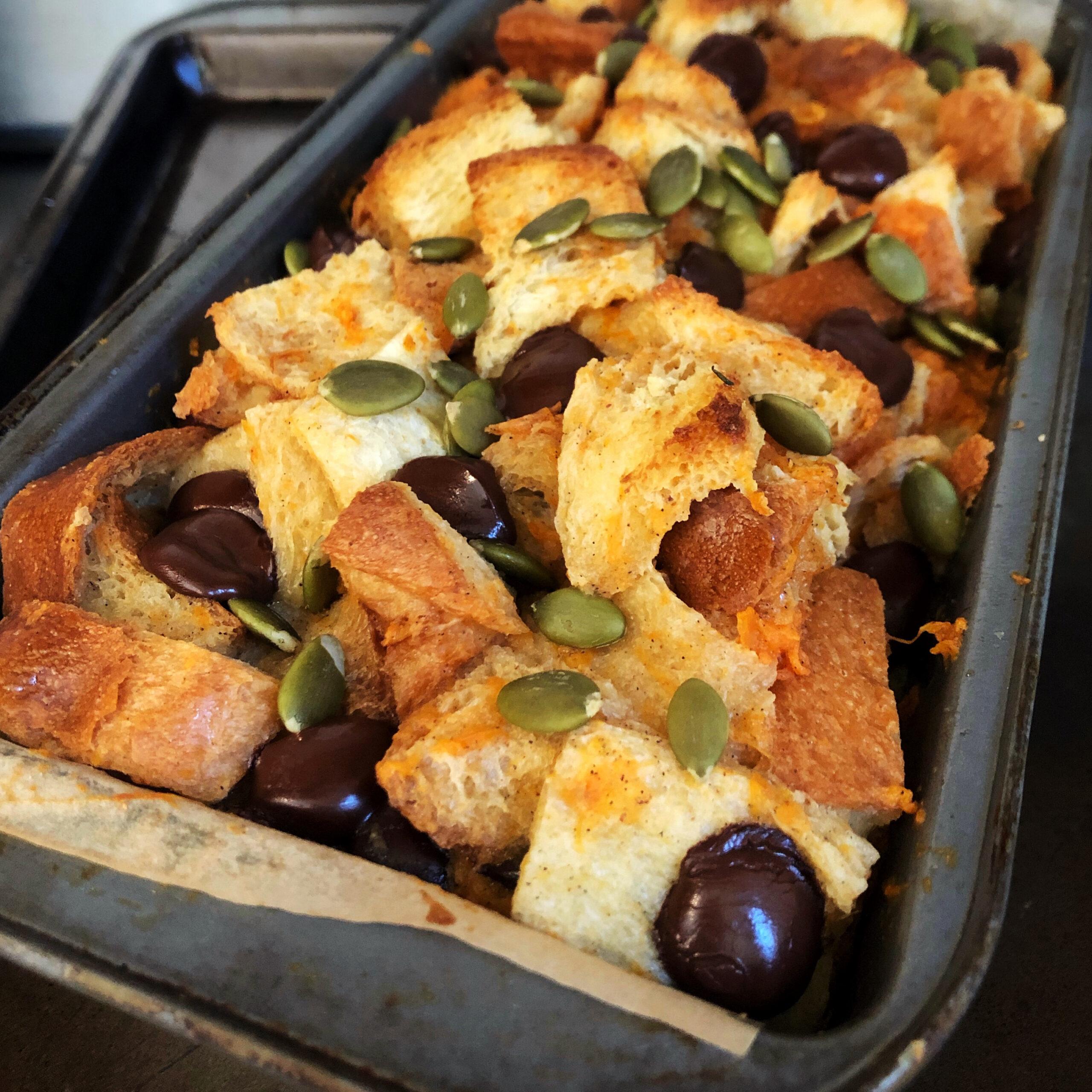 Sweet Potato, Cardamom, and Dark Chocolate Bread Pudding