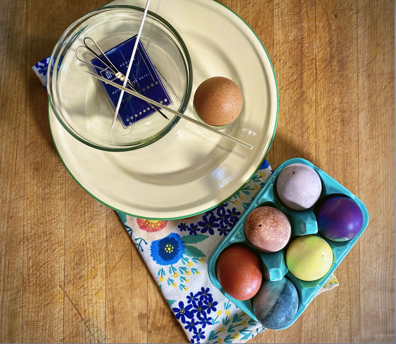 A bowl of waste free painted Easter eggs