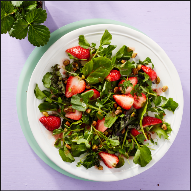My strawberry and watercress salad in a bowl