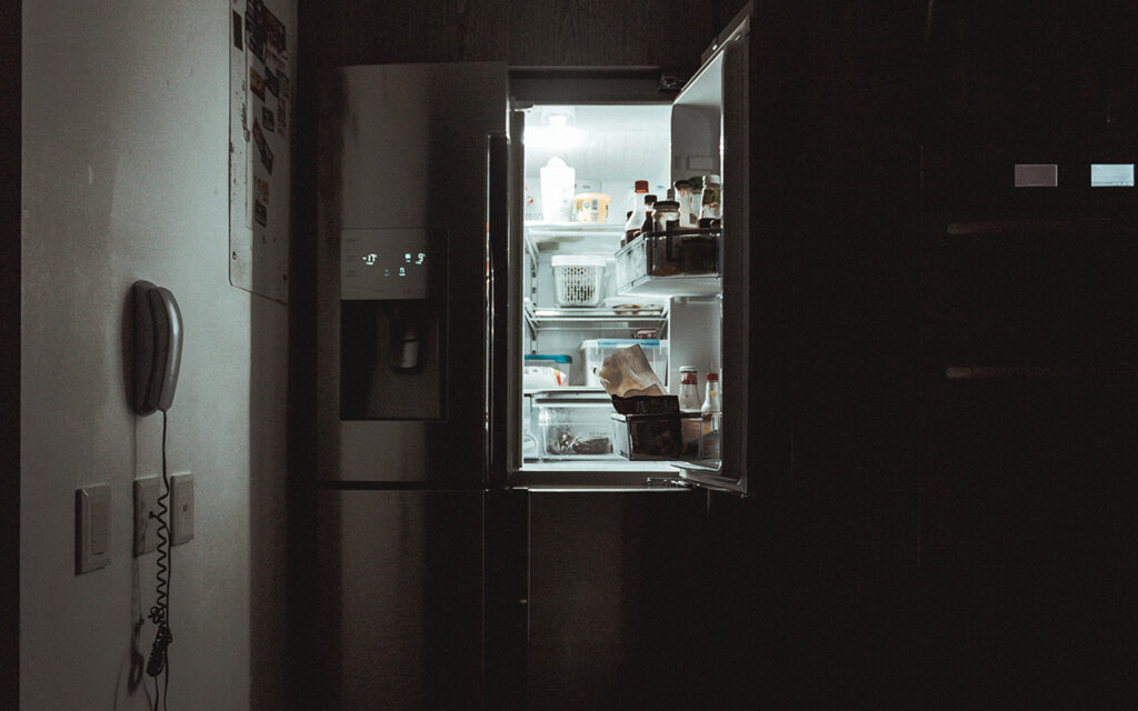 Food waste with the fridge open